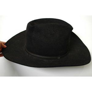 Vintage Stetson Cowboy Hat Black Boho 6 7/8 Mallor
